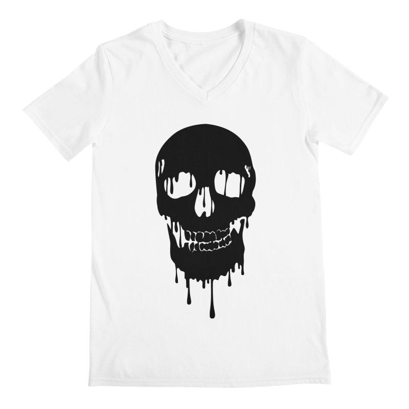 Melted skull - bk Men's V-Neck by garabattos's Artist Shop