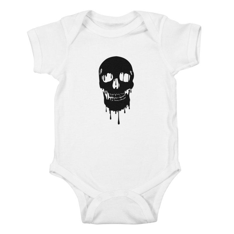 Melted skull - bk Kids Baby Bodysuit by garabattos's Artist Shop