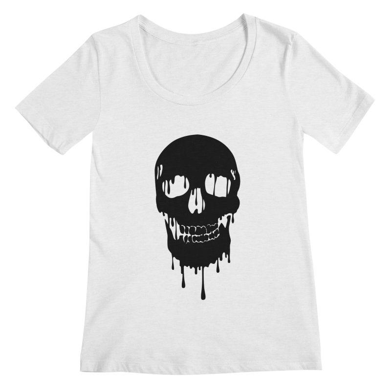 Melted skull - bk Women's Scoopneck by garabattos's Artist Shop