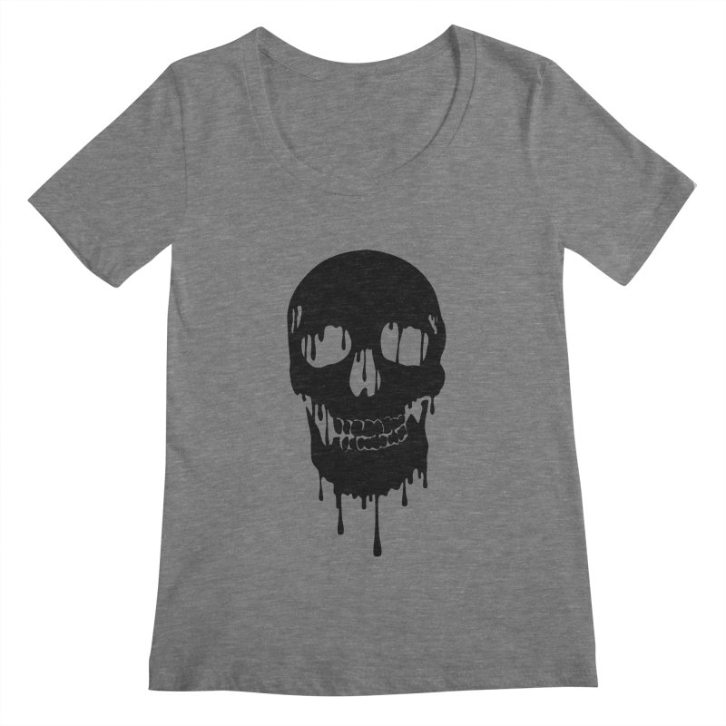 Melted skull - bk Women's Scoopneck by garabattos's Artist Shop
