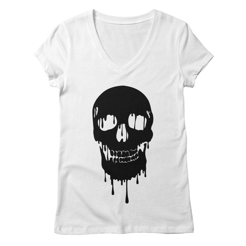 Melted skull - bk Women's V-Neck by garabattos's Artist Shop