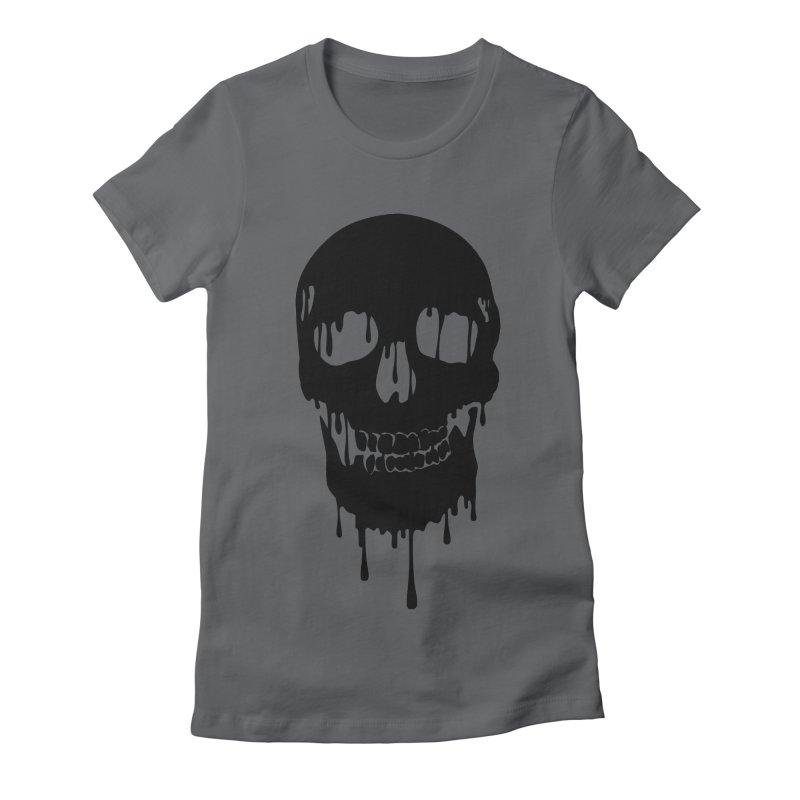 Melted skull - bk Women's Fitted T-Shirt by garabattos's Artist Shop
