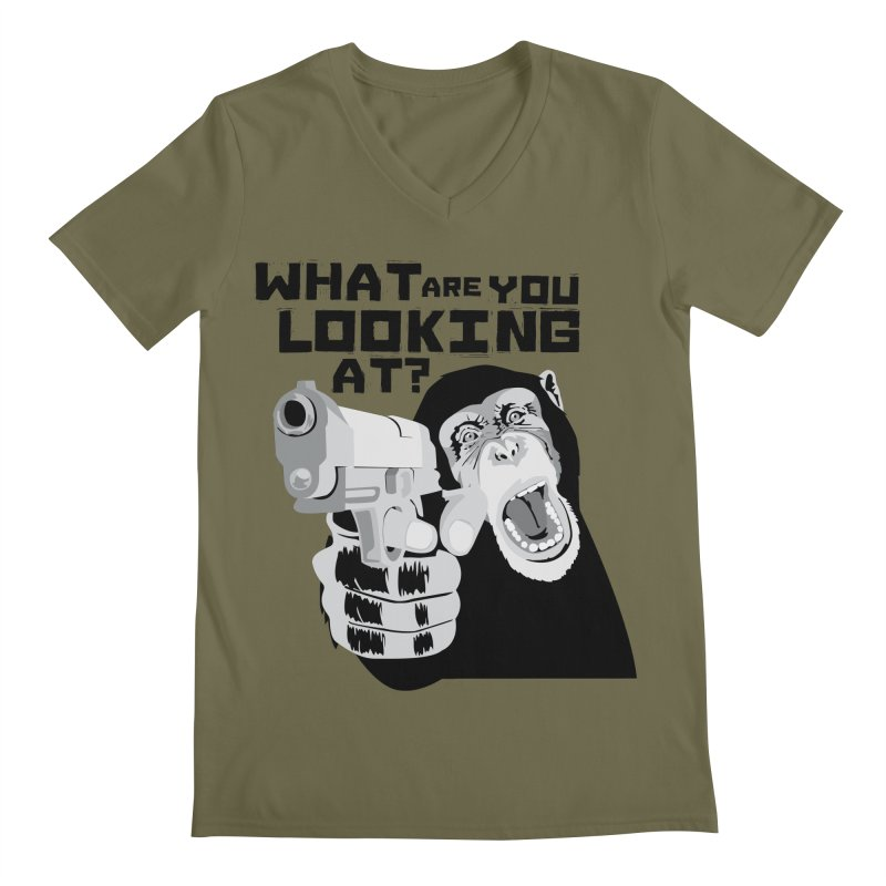 What are you looking at? Men's V-Neck by garabattos's Artist Shop