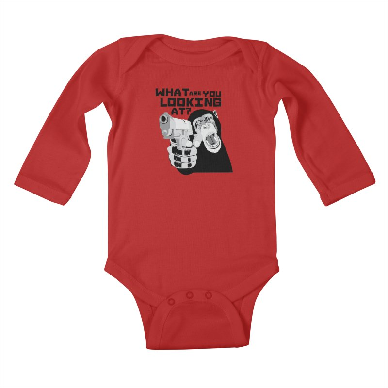 What are you looking at? Kids Baby Longsleeve Bodysuit by garabattos's Artist Shop