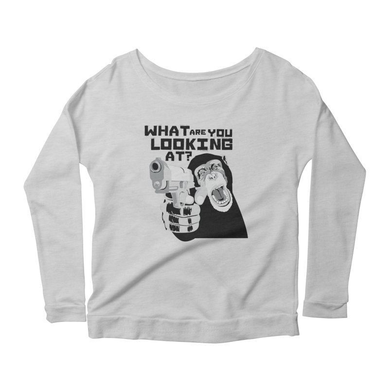 What are you looking at? Women's Longsleeve Scoopneck  by garabattos's Artist Shop