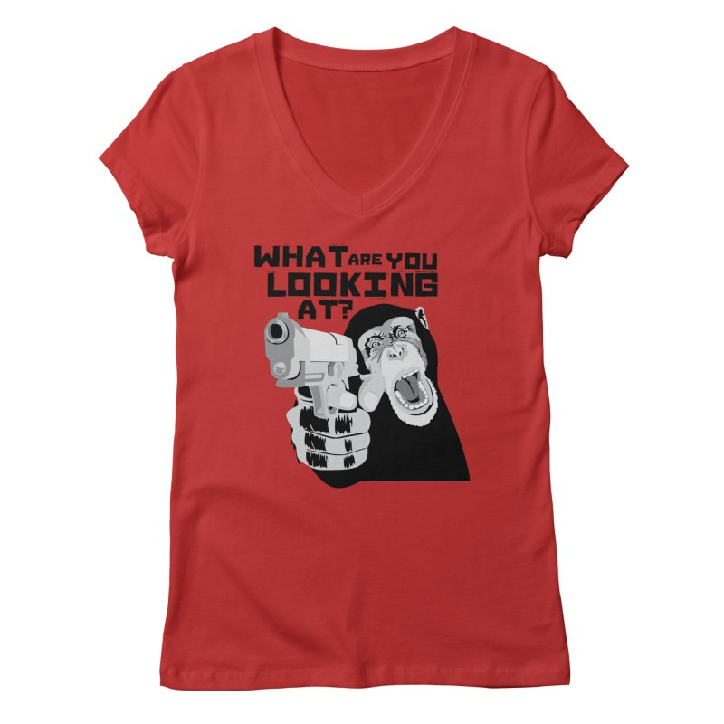 What are you looking at? Women's V-Neck by garabattos's Artist Shop