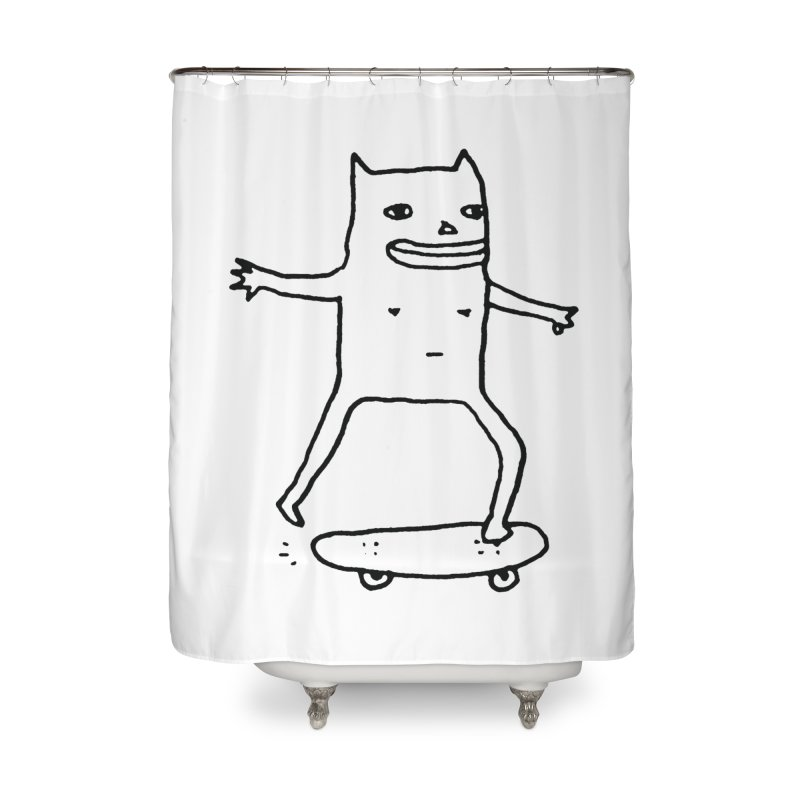 Naked Skate Home Shower Curtain by Garbage Party's Trash Talk & Apparel Shop