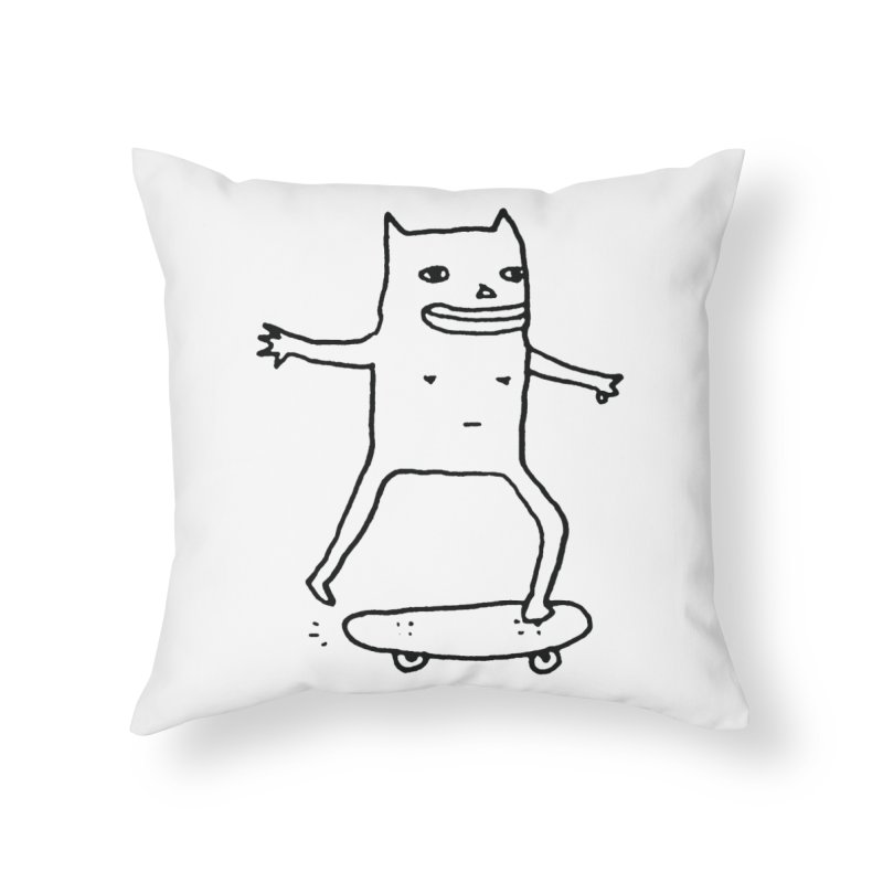 Naked Skate Home Throw Pillow by Garbage Party's Trash Talk & Apparel Shop