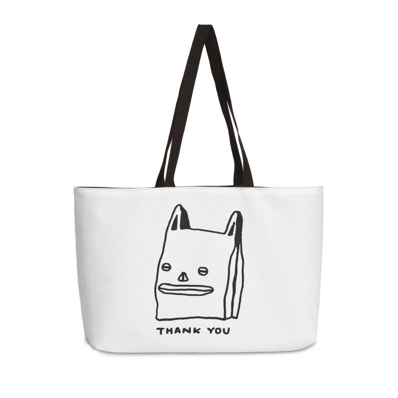 Thank You For Shopping Accessories Weekender Bag Bag by Garbage Party's Trash Talk & Apparel Shop