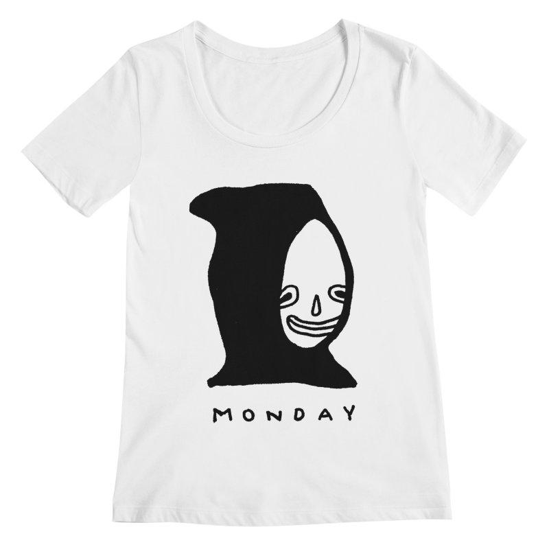 Monday Women's Regular Scoop Neck by Garbage Party's Trash Talk & Apparel Shop