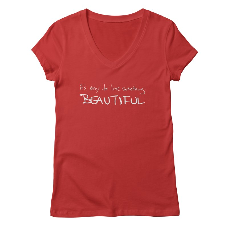 Hollow Lyric - Light Grey Women's Regular V-Neck by Garrison Starr's Artist Shop