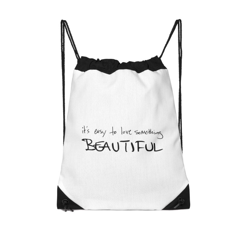 Hollow Lyric - Black Accessories Drawstring Bag Bag by Garrison Starr's Artist Shop