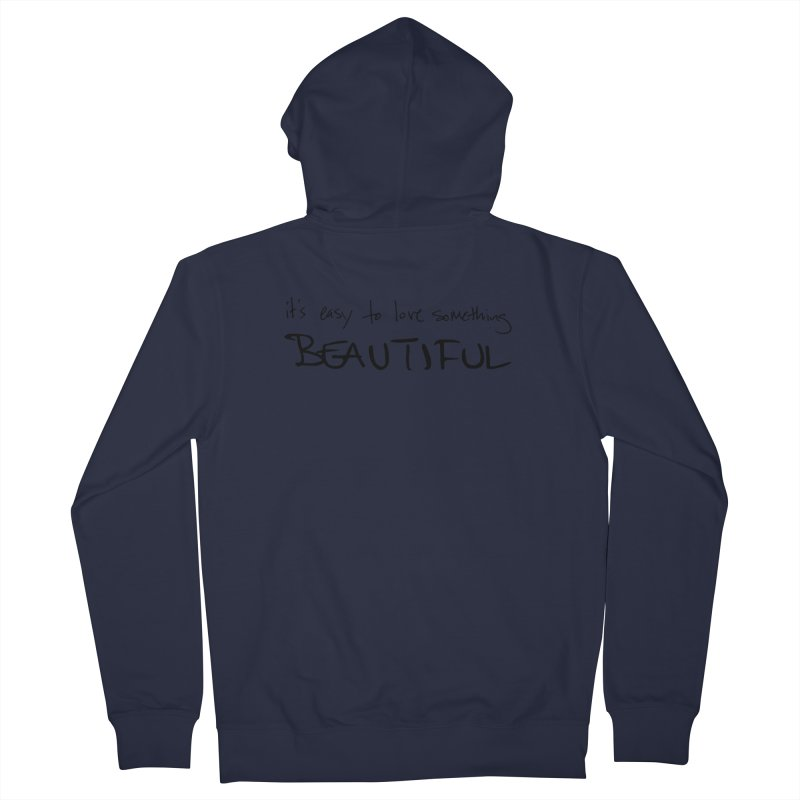 Hollow Lyric - Black Men's French Terry Zip-Up Hoody by Garrison Starr's Artist Shop