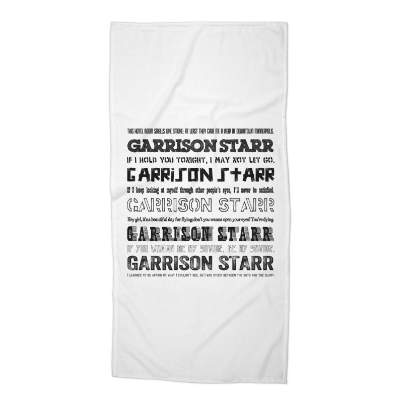 Multiple Lyrics Accessories Beach Towel by Garrison Starr's Artist Shop