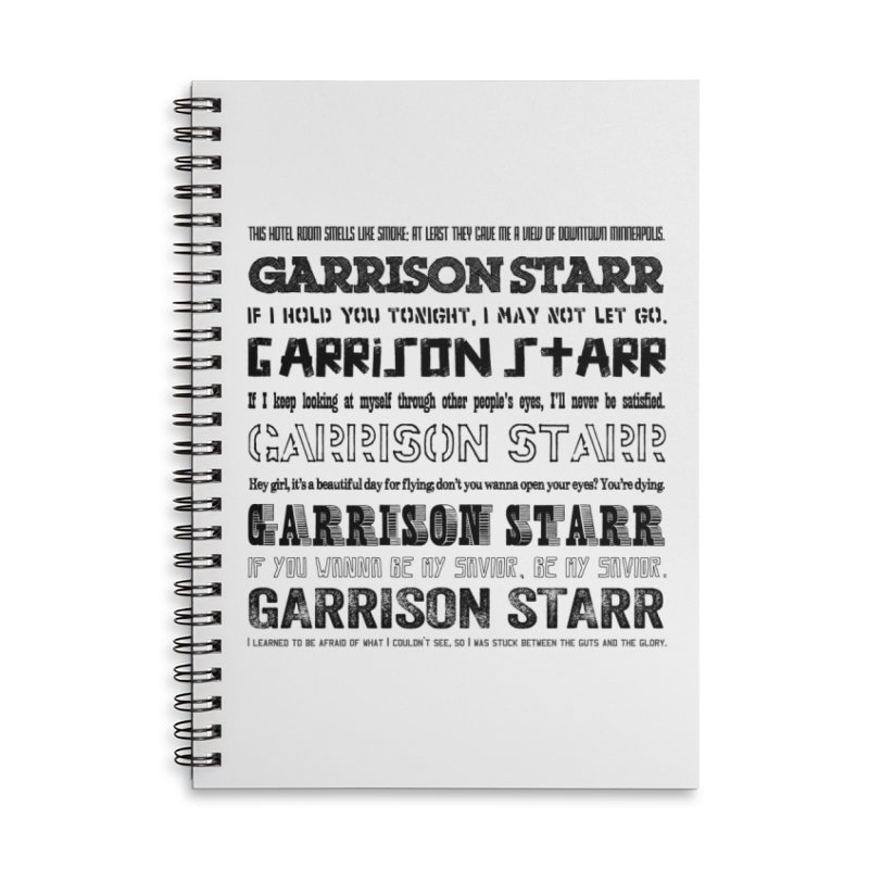 Multiple Lyrics Accessories Lined Spiral Notebook by Garrison Starr's Artist Shop