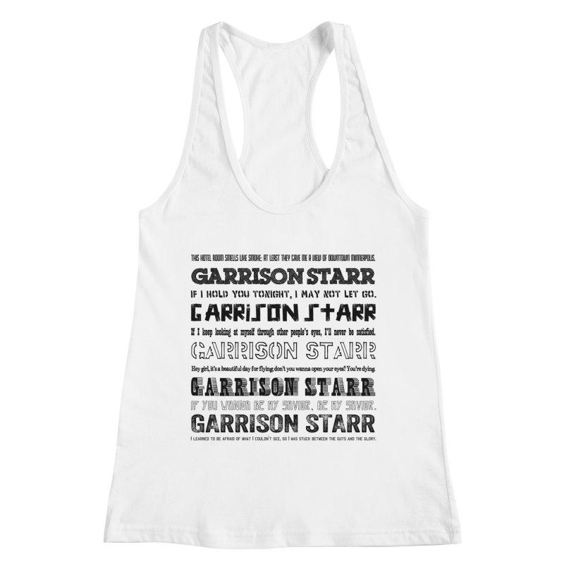 Multiple Lyrics Women's Racerback Tank by Garrison Starr's Artist Shop