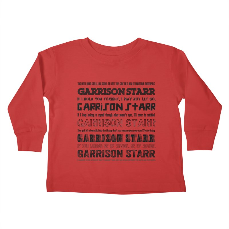 Multiple Lyrics Kids Toddler Longsleeve T-Shirt by Garrison Starr's Artist Shop