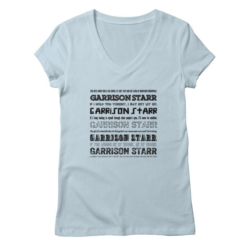 Multiple Lyrics Women's V-Neck by Garrison Starr's Artist Shop