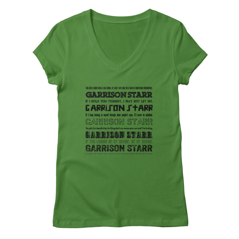 Multiple Lyrics Women's Regular V-Neck by Garrison Starr's Artist Shop