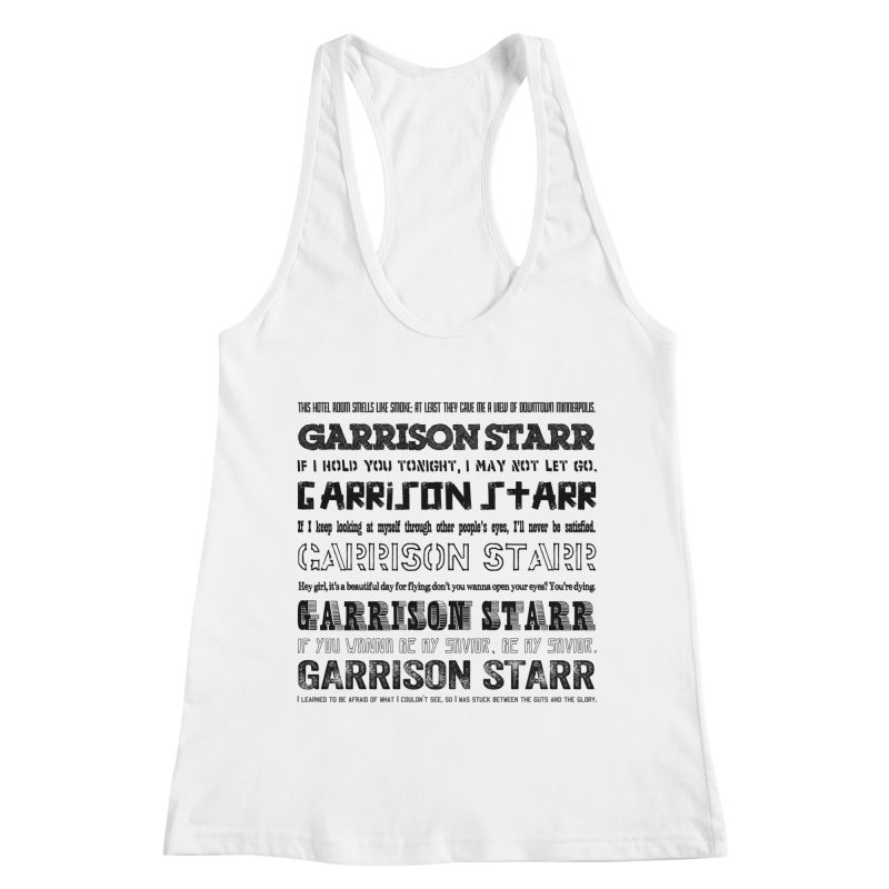 Multiple Lyrics Women's Racerback Tank by Garrison Starr's Artist Shop