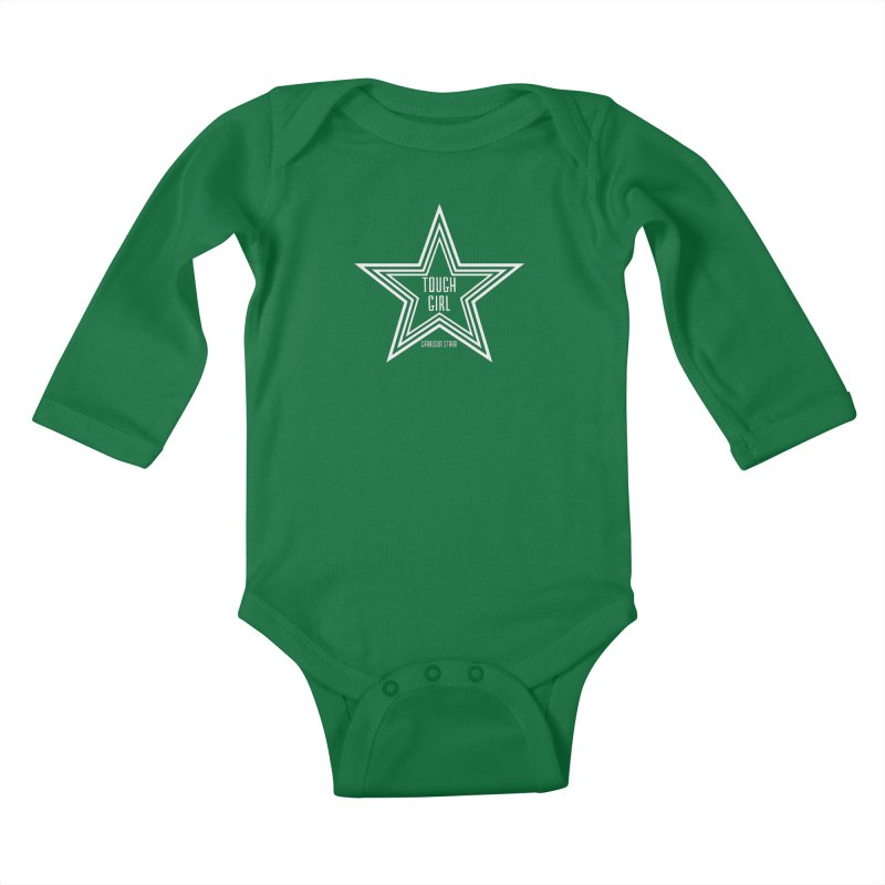 Tough Girl Star - Light Gray Kids Baby Longsleeve Bodysuit by Garrison Starr's Artist Shop