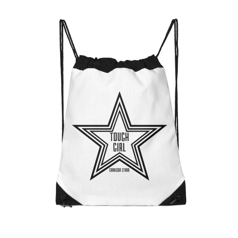 Tough Girl Star - Black Accessories Drawstring Bag Bag by Garrison Starr's Artist Shop