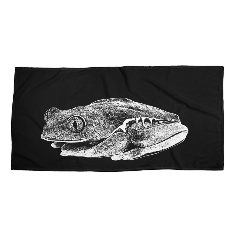 Red-Eye Tree Frog Line Art Accessories Beach Towel by Gary Mc Alea Photography's Artist Shop