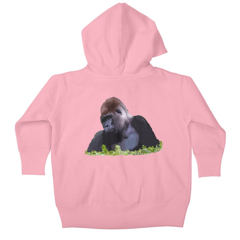 Silverback Gorilla Kids Baby Zip-Up Hoody by Gary Mc Alea Photography's Artist Shop
