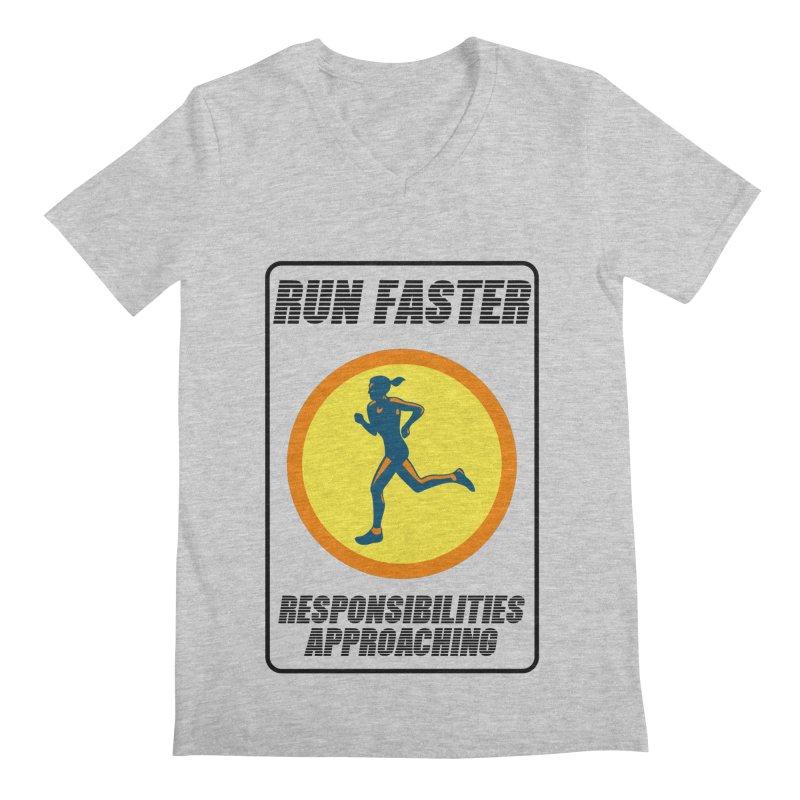 RUN FAST! Men's V-Neck by gasponce