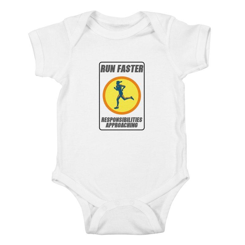RUN FAST! Kids Baby Bodysuit by gasponce