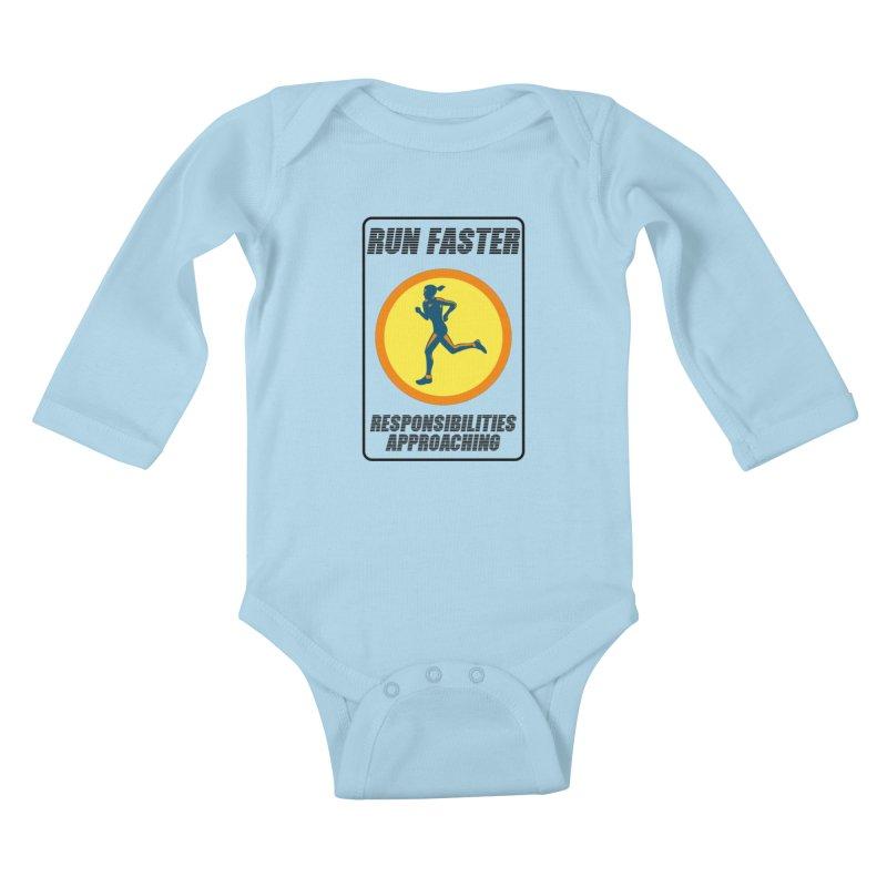RUN FAST! Kids Baby Longsleeve Bodysuit by gasponce