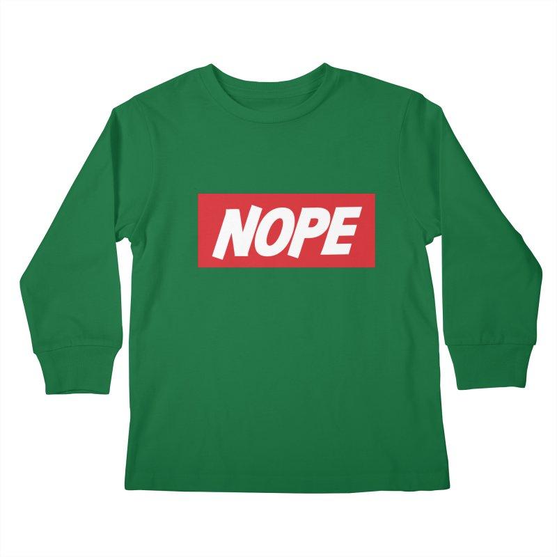 Nope! Kids Longsleeve T-Shirt by gasponce