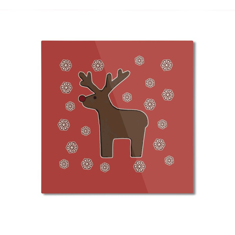 Christmas deer! Home Mounted Aluminum Print by gasponce