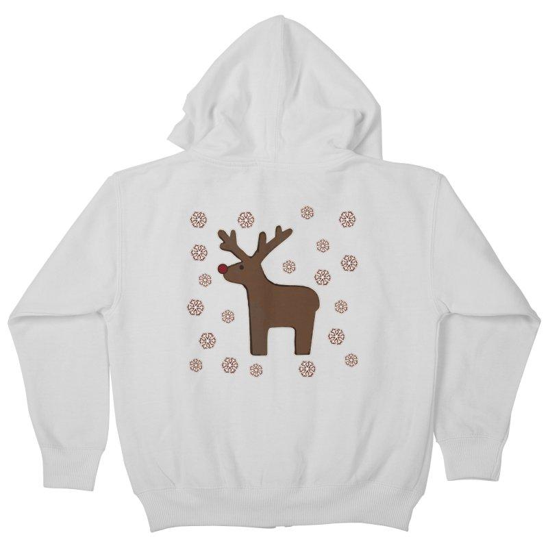 Christmas deer! Kids Zip-Up Hoody by gasponce