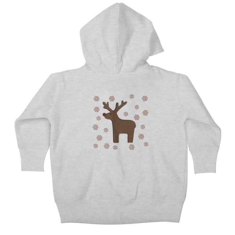 Christmas deer! Kids Baby Zip-Up Hoody by gasponce