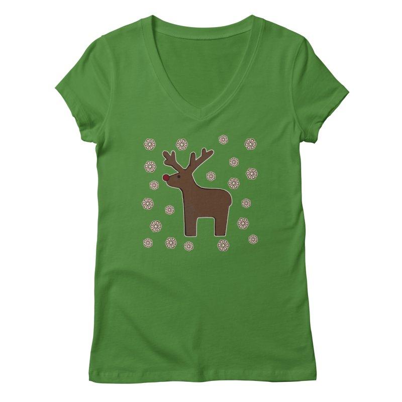 Christmas deer! Women's V-Neck by gasponce