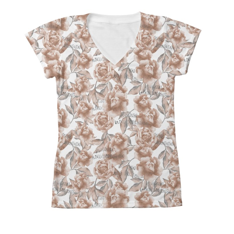 F*CK FEELINGS! Women's V-Neck All Over Print by gasponce