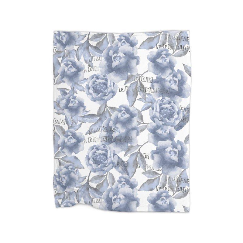 F*CK FEELINGS! BLUE Home Fleece Blanket by gasponce
