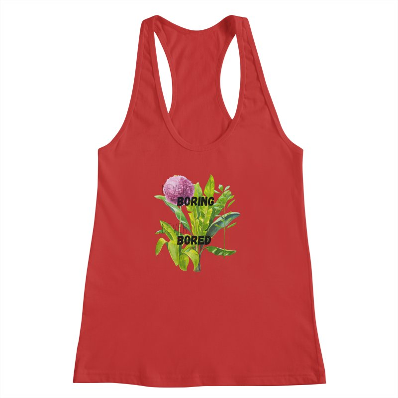 boring! Women's Racerback Tank by gasponce