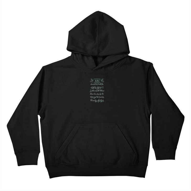 Mexican Mennonite Handwriting (Mint Glow) Kids Pullover Hoody by gattacho's Artist Shop