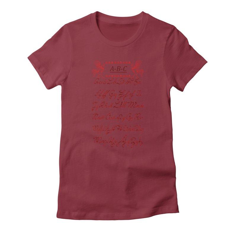 Mexican Mennonite Handwriting (Red Glow) Women's T-Shirt by gattacho's Artist Shop