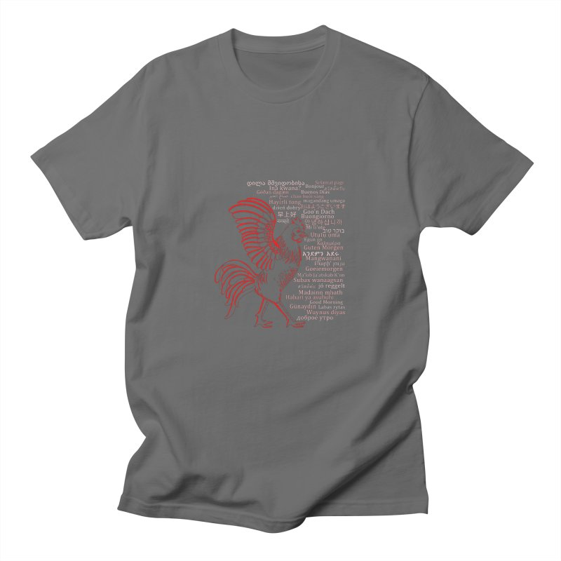 Multilingual Good Morning Rooster (Red) Men's T-Shirt by gattacho's Artist Shop
