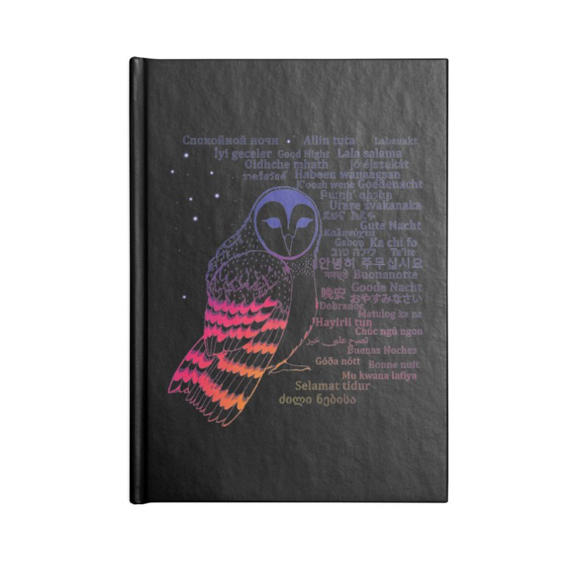 Multilingual Good Night Owl (Sunset Glow) Accessories Notebook by gattacho's Artist Shop
