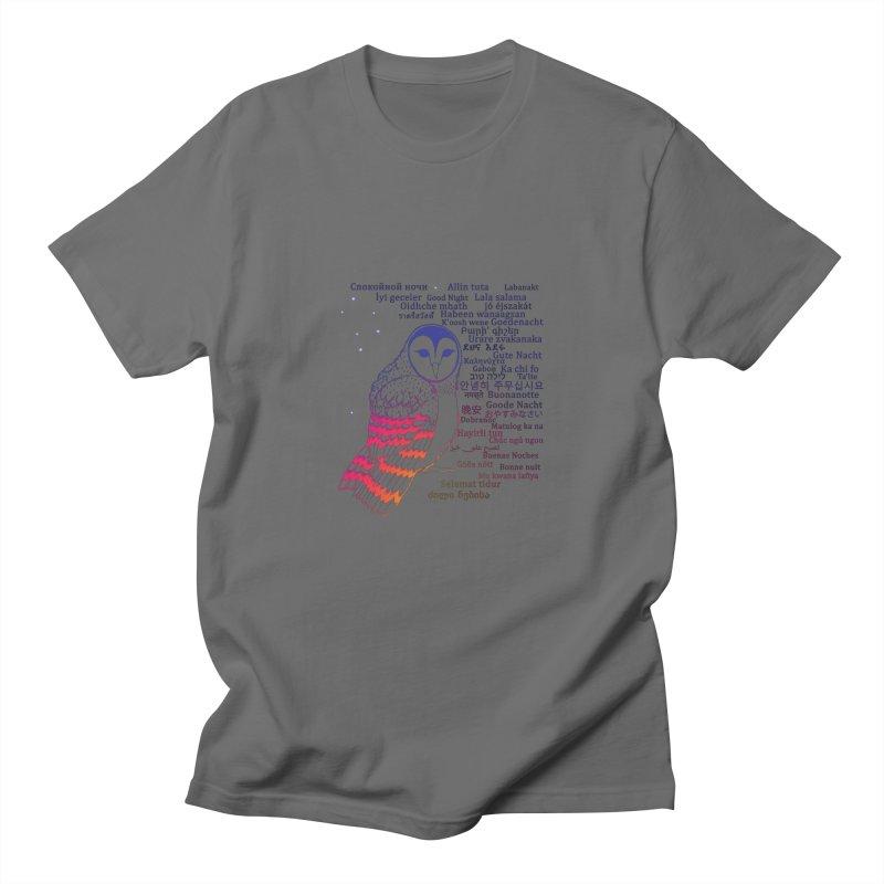 Multilingual Good Night Owl (Sunset Glow) Men's T-Shirt by gattacho's Artist Shop