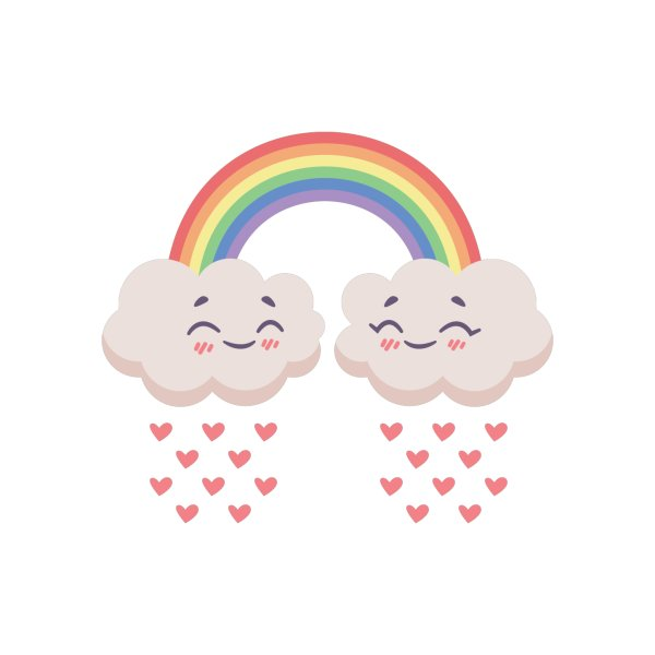 image for Clouds raining hearts (no outline)