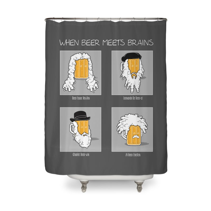 Beer Meets Brains Home Shower Curtain by GED WORKS
