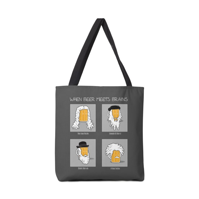 Beer Meets Brains Accessories Tote Bag Bag by GED WORKS