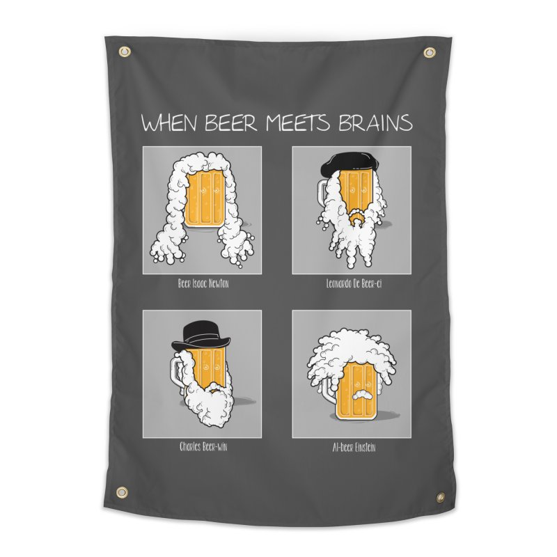 Beer Meets Brains Home Tapestry by GED WORKS