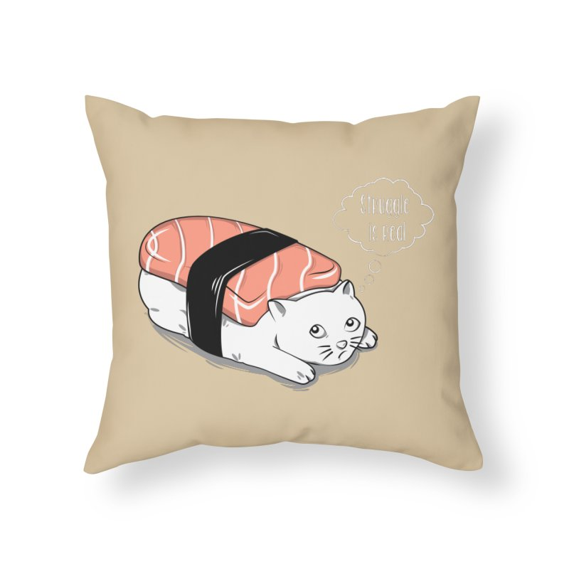 Pushi Cat Home Throw Pillow by GED WORKS