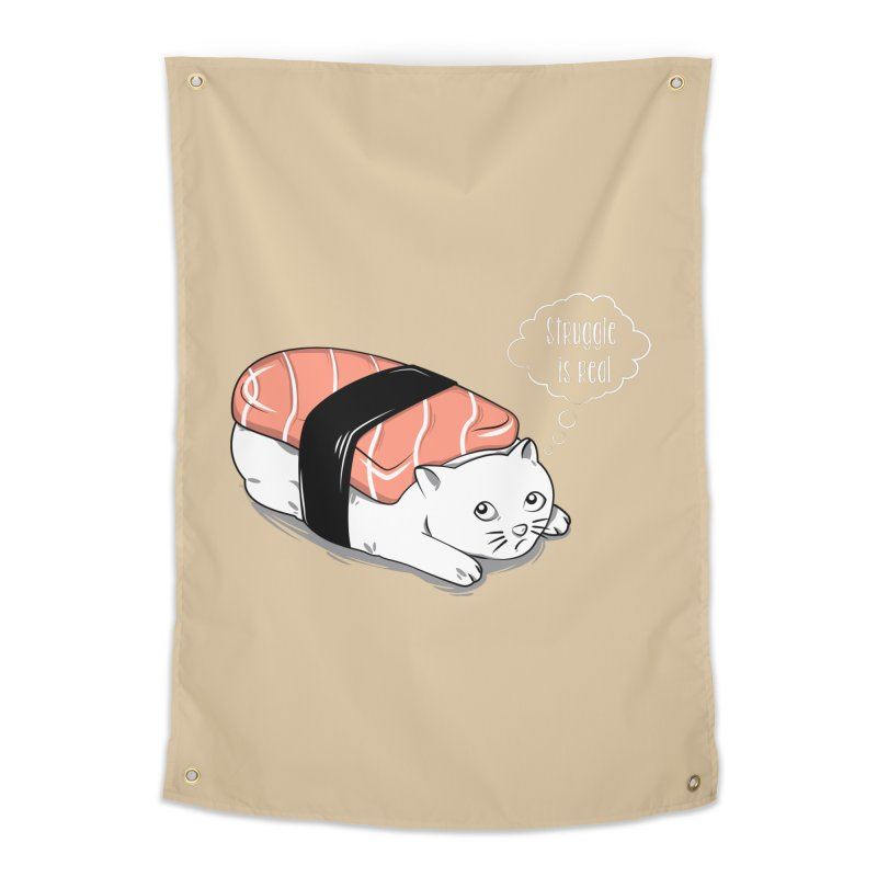Pushi Cat Home Tapestry by GED WORKS